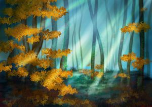 Foggy autumn forest yellow leaves