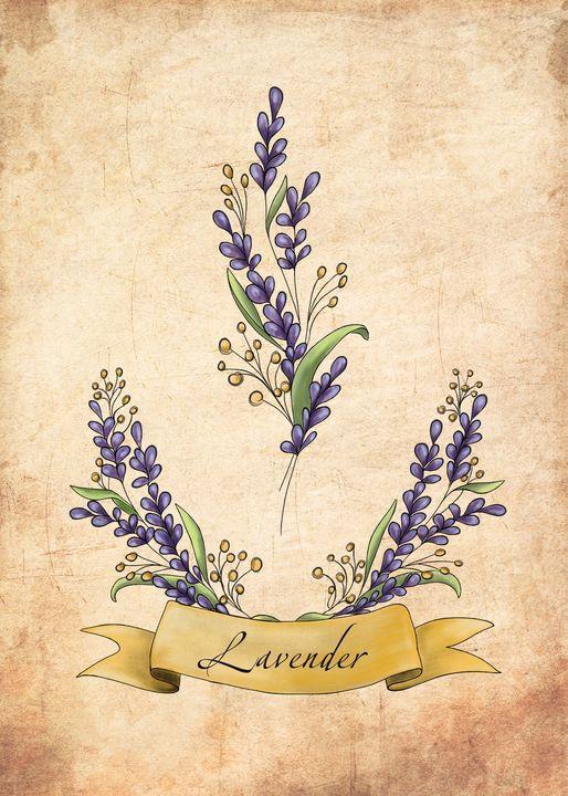 Vintage lavender illustration - ArtGallerySABINA