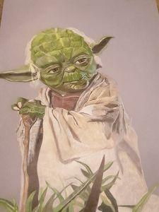 Colour pencil Yoda