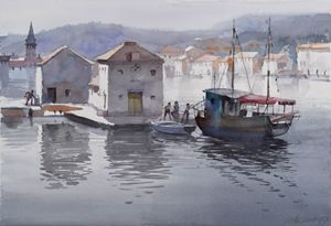 Harbor on Adriatic sea - Goran ŽIgolić Watercolors