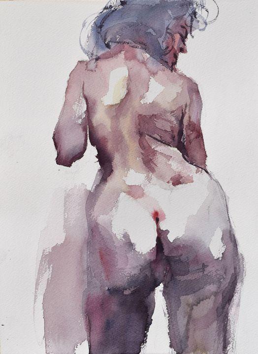 Nude  ( backview ) - Goran ŽIgolić Watercolors