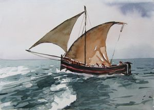 stormy sea sailing - Goran ŽIgolić Watercolors