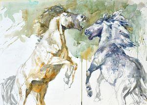 PLaying horses - Goran ŽIgolić Watercolors