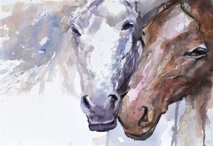 Two horses ( heads) - Goran ŽIgolić Watercolors
