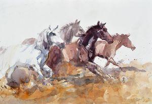 Running horses - Goran ŽIgolić Watercolors