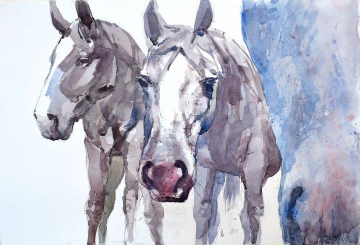 THree horses - Goran ŽIgolić Watercolors