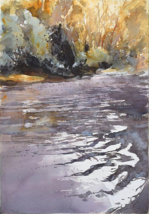 Sunset in woods - Goran ŽIgolić Watercolors