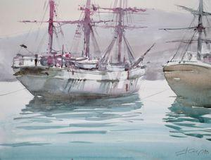 Ships in Adriatic harbor - Goran ŽIgolić Watercolors