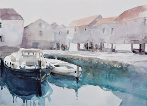 Harbor on Adriatic sea - Goran ŽIgolić Watercolors