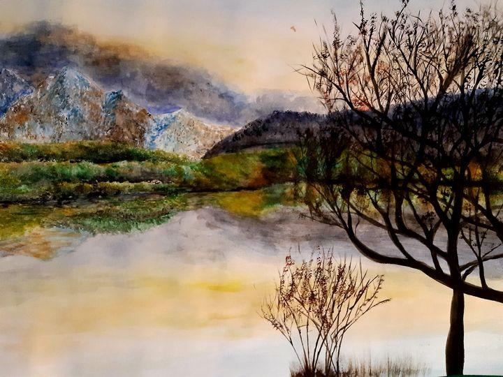 Lake and white mountain - ArtistBear