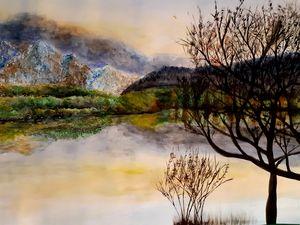 Lake and white mountain