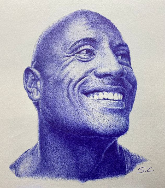 'The Rock' in biro - Sean Cummings