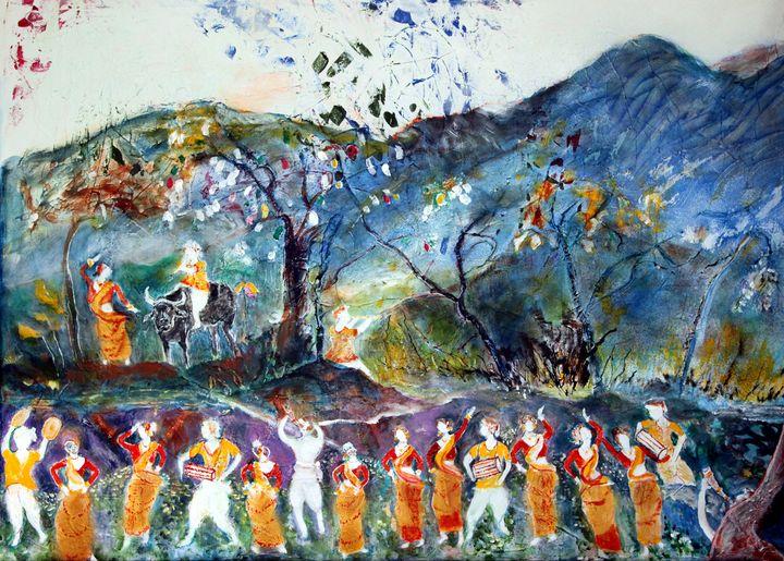 Bihu dancers - Raja 's fine art