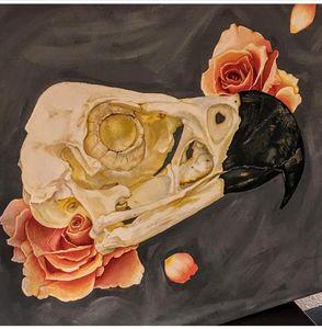 Bird skull and roses
