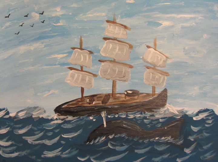 Tall ship with whale - Marilyn Kline