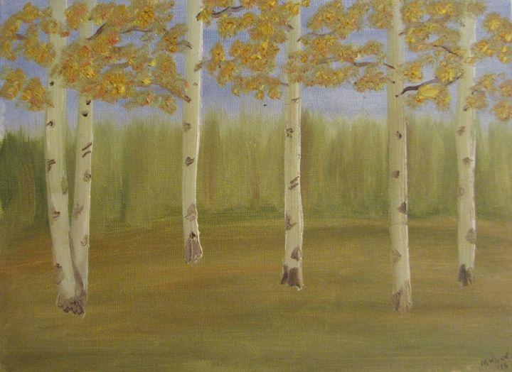 Grove of aspens done in oil - Marilyn Kline