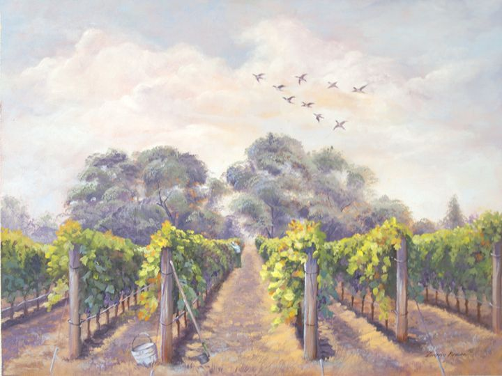 Balmy day vineyard - Paintings by Diana V Brown