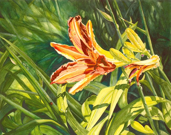 The lily and the ladybug. - Paintings by Diana V Brown