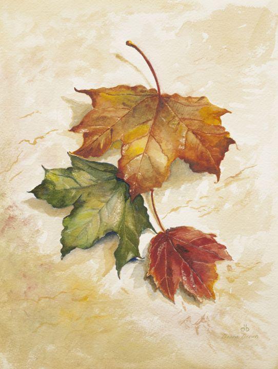Three leaves - Paintings by Diana Brown Schmidt