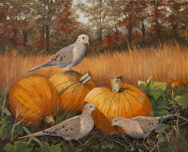 Doves in Pumpkin Field - Paintings by Diana Brown Schmidt