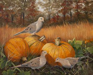 Doves in Pumpkin Field