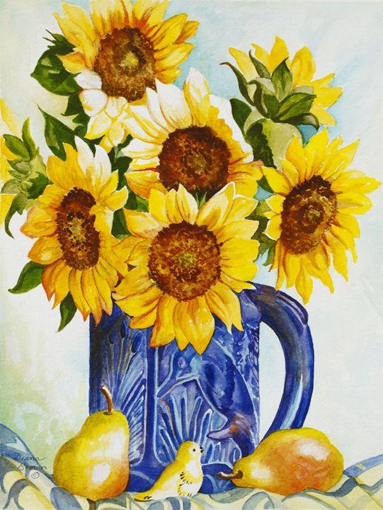 Sunflowers in blue vase - Paintings by Diana Brown Schmidt