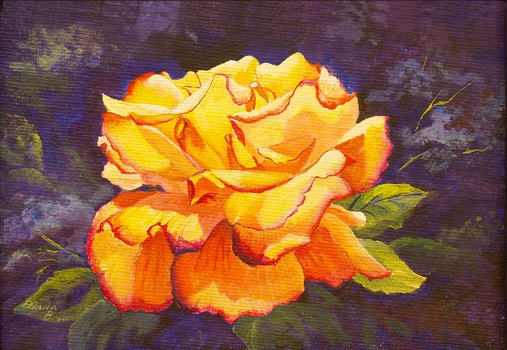 Yellow Rose - Paintings by Diana V Brown