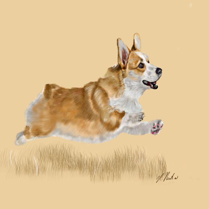 Corgi on the Run - Dogone Art