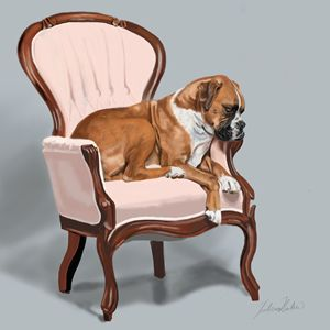 Boxer Sitting Pretty - Dogone Art