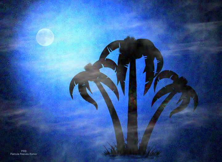 3 Palms in the Mist - Pamula Reeves-Barker Art