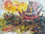 Oil on canvas , Affandi