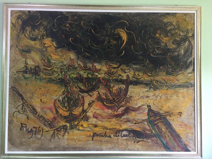 Perahu2  di Samudra, Affandi - MHR Nusantara Art