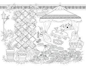 Gazebo garden party coloring page