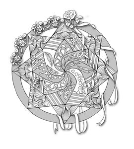 Mandala with flowers and ribbons