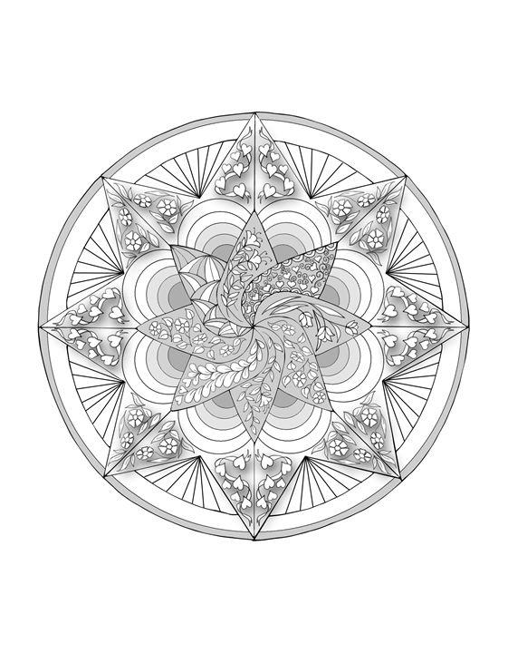 Mandala - coloring page style - PJTimmermans