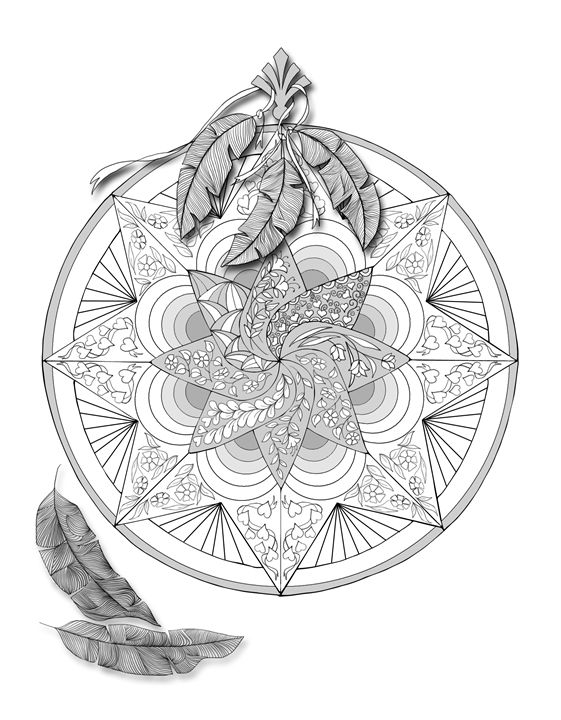 Mandala with feathers ready to color - PJTimmermans