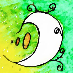 Whimsical Moon Green