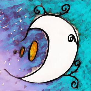 Whimsical Moon Blue