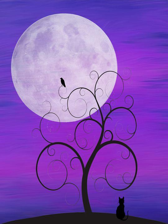 Purple Moon Cat - DreamBeyondArt