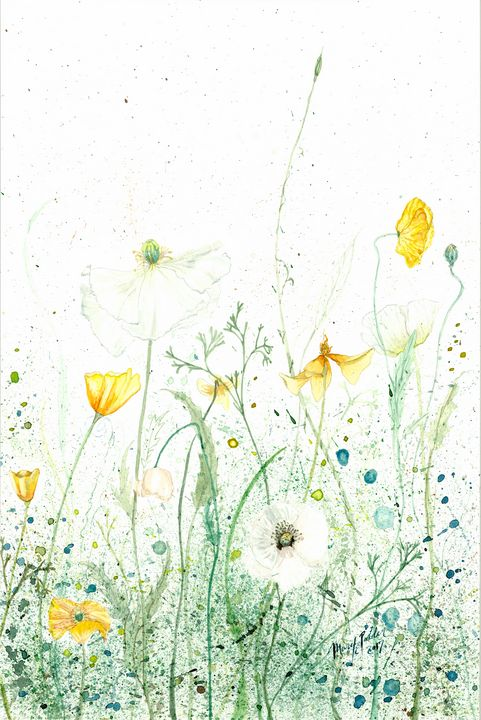 White and Yellow Poppies - Mary Elizabeth Polder Art