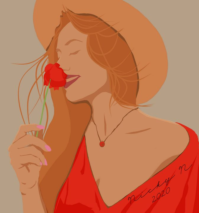 Woman with Flower - Nickyfin