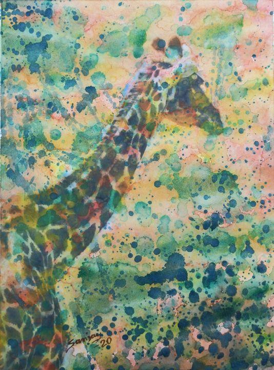 Colourful Giraffe - sanjay mochi art gellery
