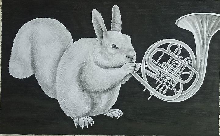 A SQUIRREL MUSICIAN - sanjay mochi art gellery