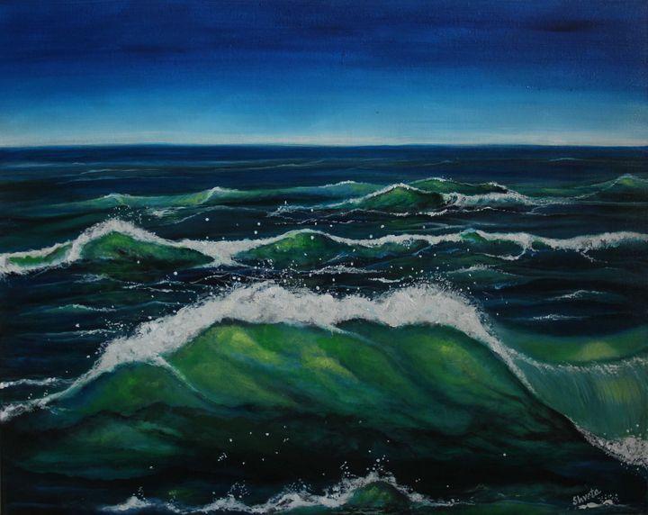 Emerald Waves - Shveta Saxena Art