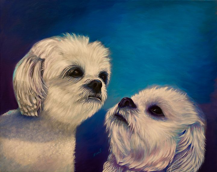 Two puppies - Painting Art by Zina S