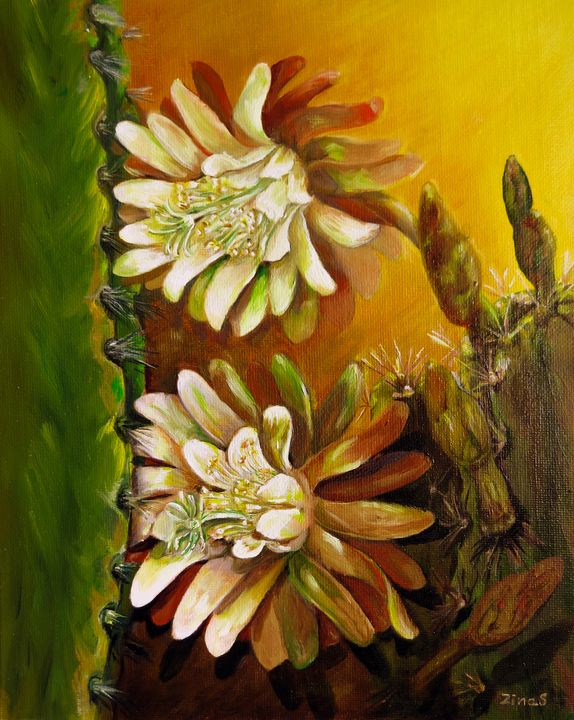 Night Blooming cactus - Painting Art by Zina S