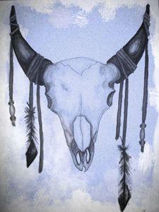 B&W Buffalo Skull