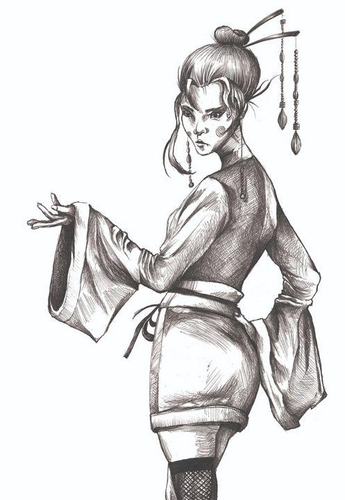 Geisha Illustration - Nikola Sekulic Art