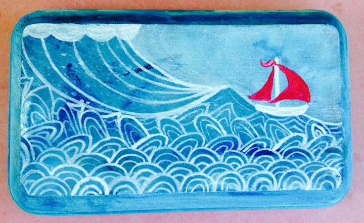 Red Sailboat Whimsy - Lisa Maria