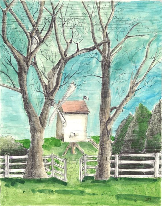 Windmill and Trees - Gabby Heller